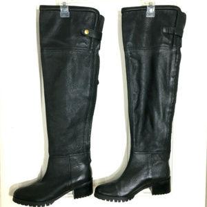Zara Black Pebbled Leather OTK Heeled Lug Boots 37
